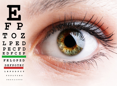 Photo of an eye and eye exam chart