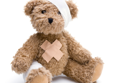 teddy bear toy with bandages on