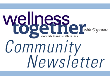 Image of Wellness Together Newsletter Logo and words Community Newsletter